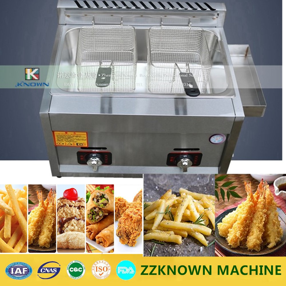 Hot sale gas heating fryer commercial fried chicken potato frying machine two baskets deep fryer shipule fast food restaurant 30l commercial electric chicken deep fryer commercial potato chips deep fryer frying machine