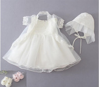 New Baby Dress With Hat Beige Embroidery Lace Baby Girl Christening Gowns 1 Year Birthday Dress