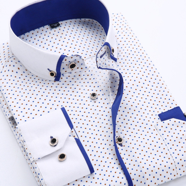 2018 Men Fashion Casual Long Sleeved Printed shirt Slim Fit Male Social Business Dress Shirt Brand Men Clothing Soft Comfortable 3