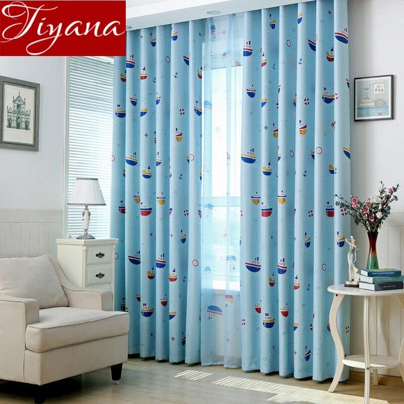 Boat Cartoon Curtains Printed Voile Sheer Window Screen Yarn Kids Boys Room  Bedroom Curtains Cloth Tulle