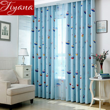 Boat Cartoon Curtains Printed Voile Sheer Window Screen Yarn Kids Boys Room Bedroom Curtains Cloth Tulle