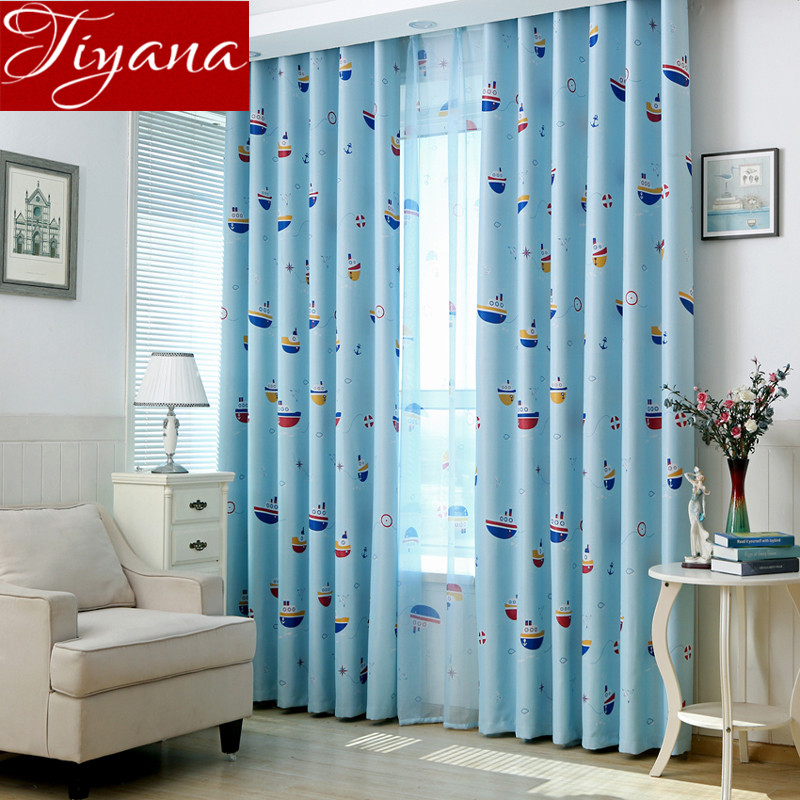 Boat Cartoon font b Curtains b font Printed Voile Sheer Window Screen Yarn Kids Boys Room