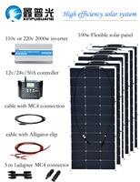 BOGUANG 600w solar system 100w semi flexible solar panel 110v 220v 2000w inverter 50A controller MC4 connector cable DIY kit