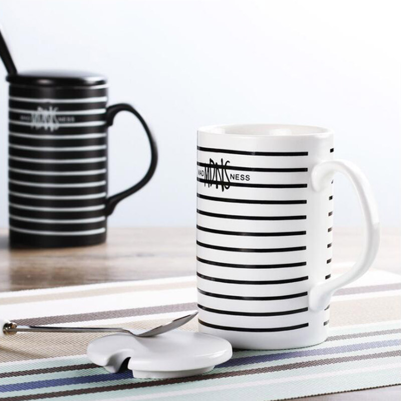 Stripe Style Morning Mug with Lid and Spoon High Quality Ceramic Coffe Milk Mugs Good Gift for Friends 350 ml SH152
