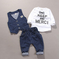 3PCs/set Children's Clothing Sets Boy Clothing 1 2 3 Years Fashion Spring Autumn Thin Toddler Boy Clothing Outfit Wear