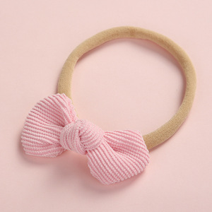 Image 3 - 20 pcs/lot, Soft Corduroy Knot Bow Nylon Headbands or hair clips, baby shower gift