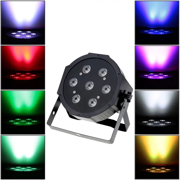 4X Lot LED Par Can Quad 7x12W Wash DMX Par Light American DJ Par RGBW 4in1 DMX LED Flat Par Projector For Stage Lighting