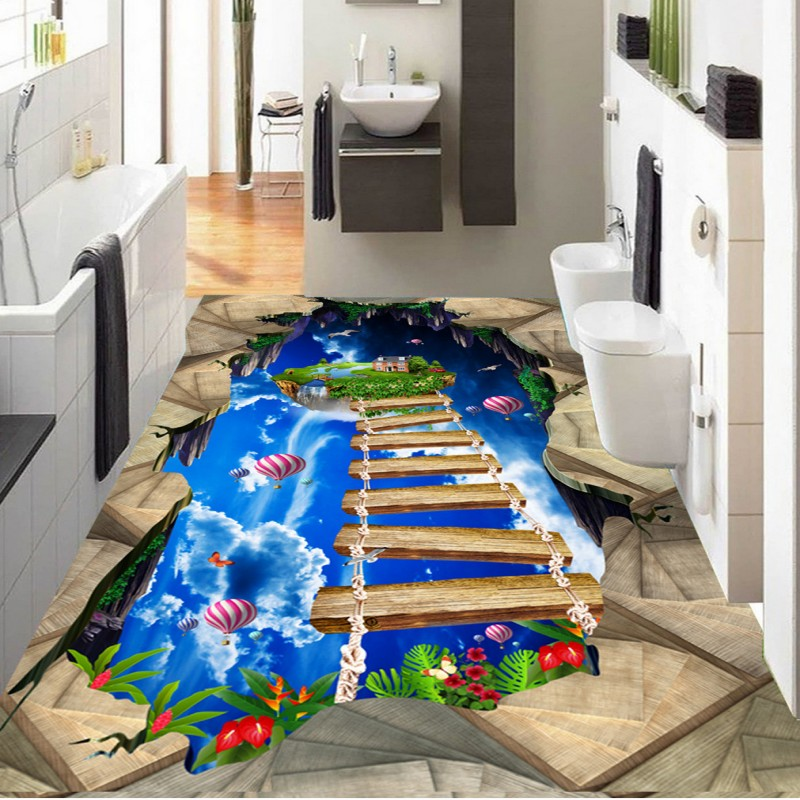 Free shipping custom thickened self-adhesive living room Wooden walkway exhibition hall 3D floor painting mural wallpaper