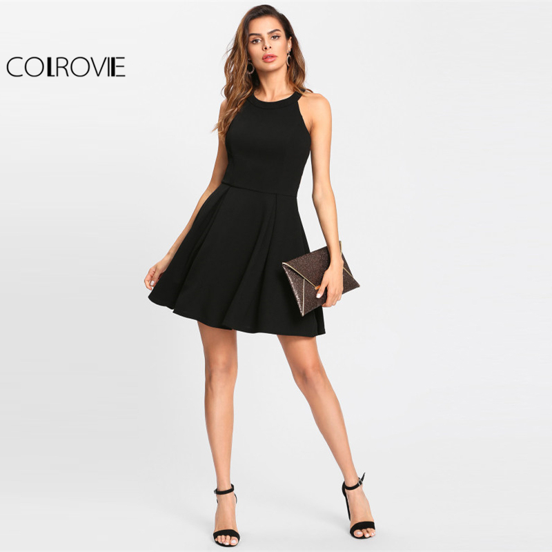 5b4fde82df7b9 US $18.99 45% OFF Aliexpress.com : Buy COLROVIE Winter Round Neck Dress Cut  Out Y Back Box Pleated Fit And Flare Dress Black Sleeveless Halter A Line  ...