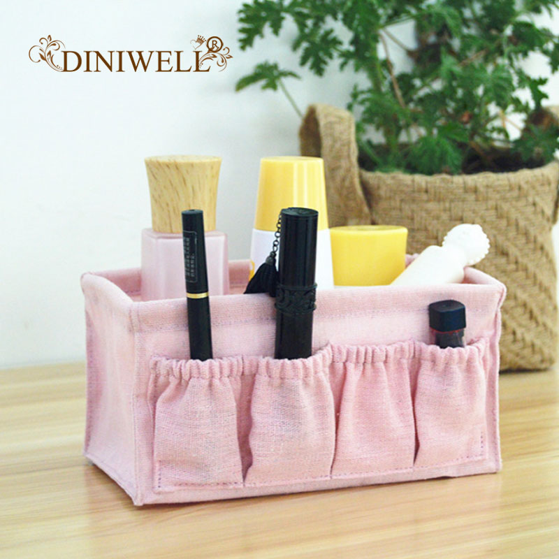 DINIWELL Multifunction Makeup Organizer Linen Folding Cosmetic Storage Box Desktop Sundries Organizer Jewelry Small Storage Box