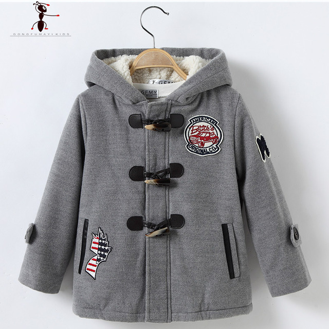 Boys Winter Hooded Kids Lovely Cotton Woolen Long Warm Hot Jacket Children's Coat for Winterjas 2528