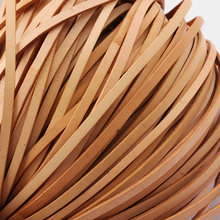 5Meters 3/4/5mm Width Natural Color Flat Real Genuine Leather Cord Bracelet Necklace Findings Rope String DIY Jewelry