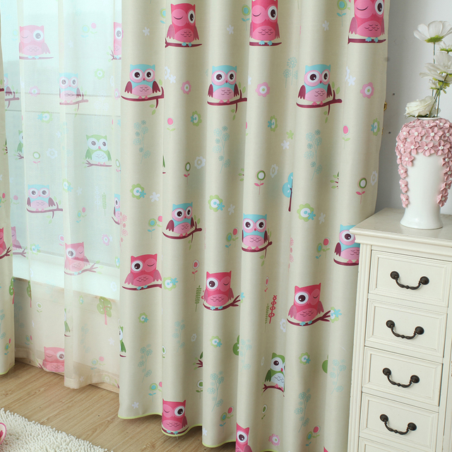 Cartoon Owl Shade Blinds Finished Window Blackout Curtains For Kids Bedroom  Windows
