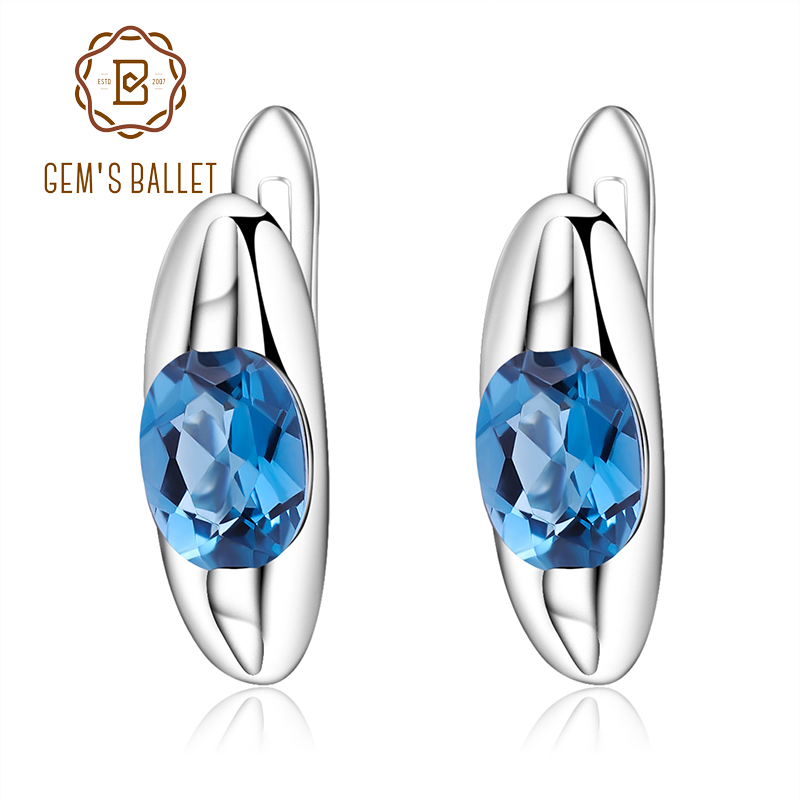 GEM S BALLET 1 57Ct Natural London Blue Topaz Stud Earrings Pure Genuine 925 Sterling Silver