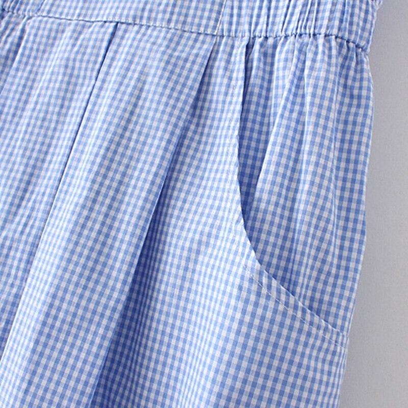 Japonés sweet botón de la tela escocesa del verano de las mujeres mediados de la