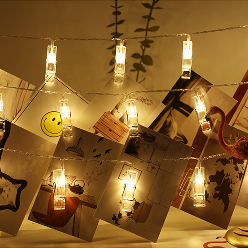 1.5M 3M 4.5M Photo Clip Holder LED String Lights Battery Powered For Christmas New Year Party Wedding Home Decoration
