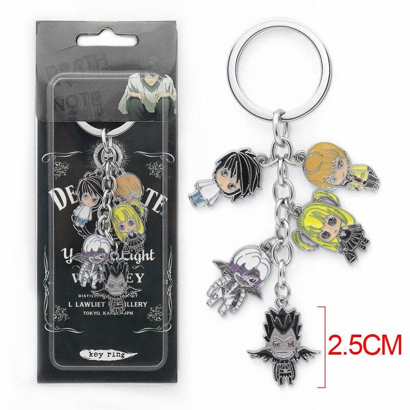 Death Note Keychain with Mini Lawliet Yagami Light Ryuuku Misa Amane Pendants