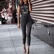 Affogatoo Fashion high waist button skinny black jeans pants