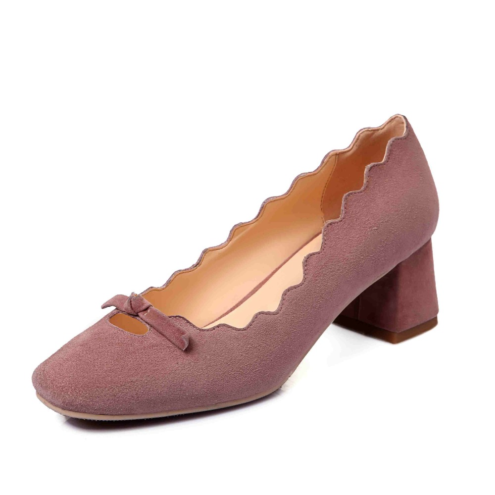 2017 fashion brand thick high heels kid suede bowtie casual square toe slip on solid women pumps spring lady mature shoes 0-1 2017 new fashion brand spring shoes large size crystal pointed toe kid suede thick heel women pumps party sweet office lady shoe