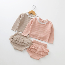 Spring Autumn Fashion 2019 New Baby Girls Clothes Long Sleeve Knit Sweater+Shorts Sets Children Clothing Baby Clohting Knit Suit недорого