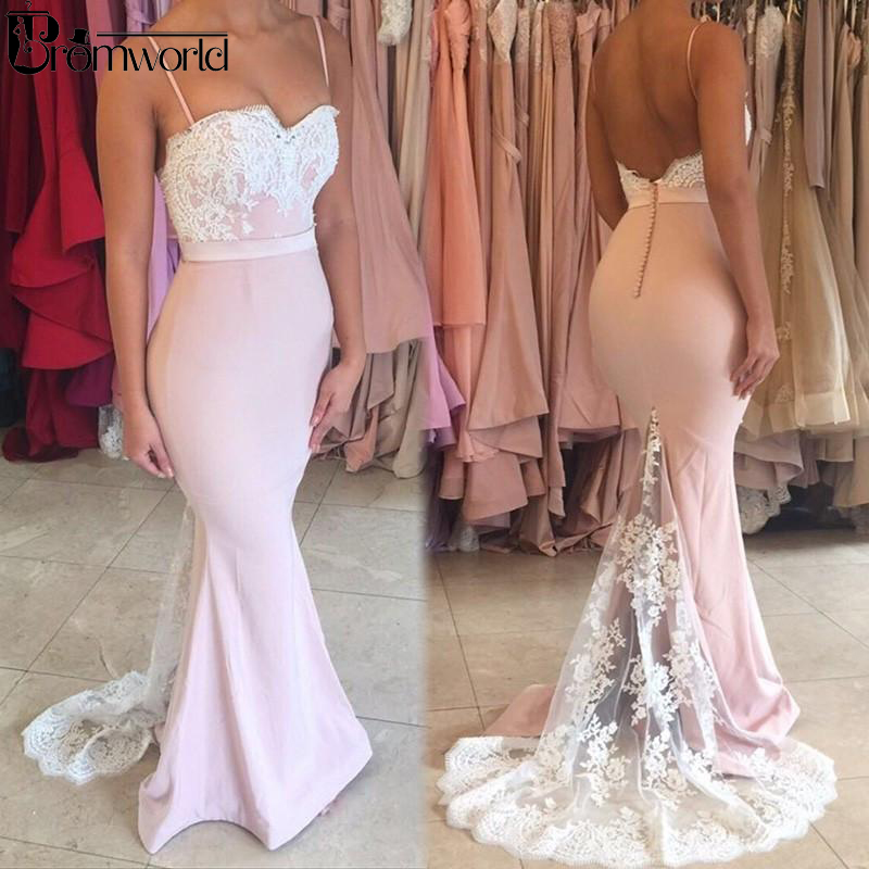 Pink   Prom     Dresses   2019 Spaghetti Straps Backless Sweep Train with Lace Long Mermaid Evening Party Gown Robe De Soiree