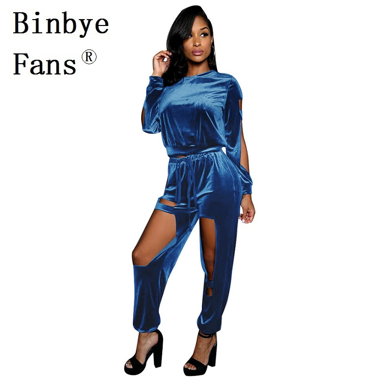 Binbye Fans Casual velvet tracksuits Velour tracksuit Women sexy two piece set top and pants Costume sweat track suits CH213