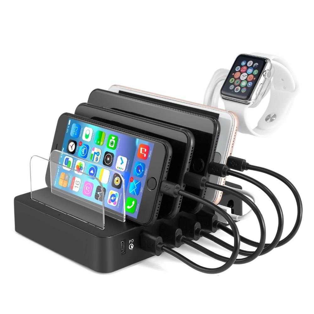 Multi Port Universel USB 3.0 PD Station De Recharge Stand Titulaire De Bureau Chargeur pour iPhone iPad Samsung Mobile Tablet UE UA plug