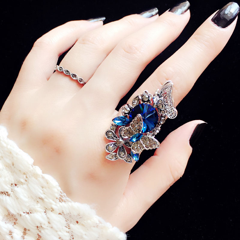 Fashion Large 18k Gold Plated Sapphire Ring Blue Crystal
