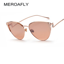 MEROAFLY Metal Frame ojo de gato mujeres Gafas sol mujer famosa marca  diseñador espejo oculos de sol feminino UV400 6dba3313763b