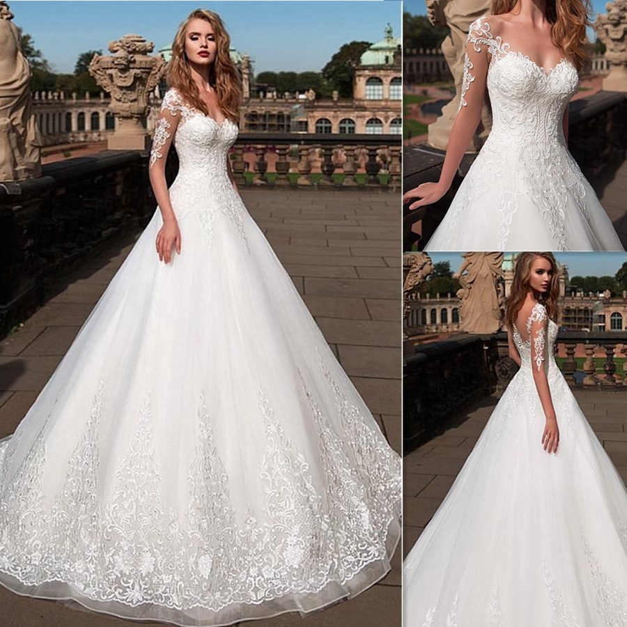 Fashionable Half Tulle Applique Sleeves Sweetheart Neckline A-line Sweep Train Wedding Dress With Illusion Back