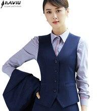 Ladies Vest Office V-Neck Fashion Women Summer Formal Slim Clothing Tops Work-Wear-Uniforms