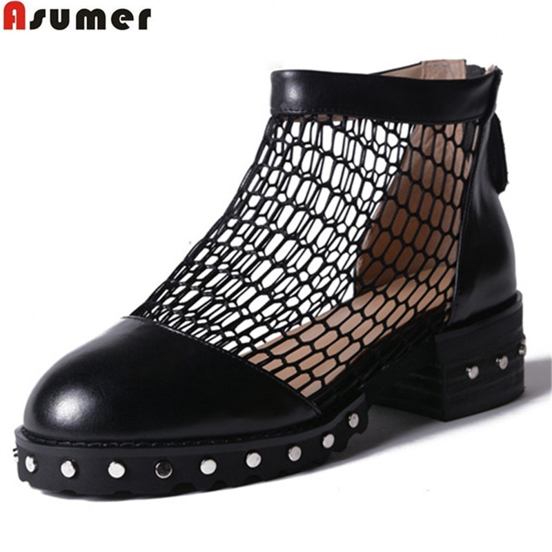 ASUMER 2018 fashion spring autumn shoes woman round toe zip square heel women med heels genuine leather shoes ankle boots asumer black brown fashion women boots round toe genuine leather boots square heel cow leather ankle boots med heel shoes