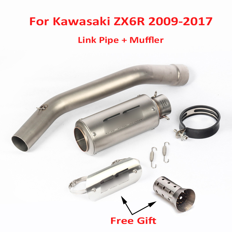 Ninja ZX6R ZX636 Slip on Exhaust Muffler Escape Silencer + Mid Link Tube System for Kawasaki 2009-2017