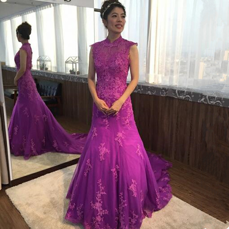 Elegant Purple Lace Tulle Mermaid Sleeveless Sexy Backless Prom Dress High  collar Evening Dress Gown Evening Dresses 2019 fac27e3c8d66