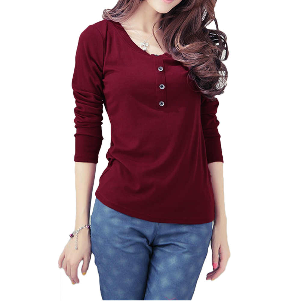 8a21a4cd5109 Detail Feedback Questions about New Fashion Womens Tops O Neck Long Sleeves  Button Decoration Women t shirt Casual Tops Plus Size M L XL XXL XXXL on ...