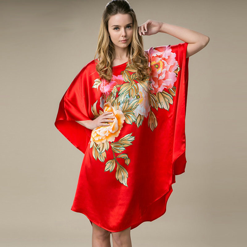 100% Silk Satin Dress Natural Mulberry Silk Women Dresses Plus Size Home Dress Handmade Painting Dress China Red Color