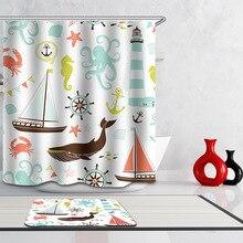 Polyester Waterproof Cartoon Ocean Animals Whale Shower Curtain Bathroom  Curtains 12 Hooks Mildewproof Bath Curtain(