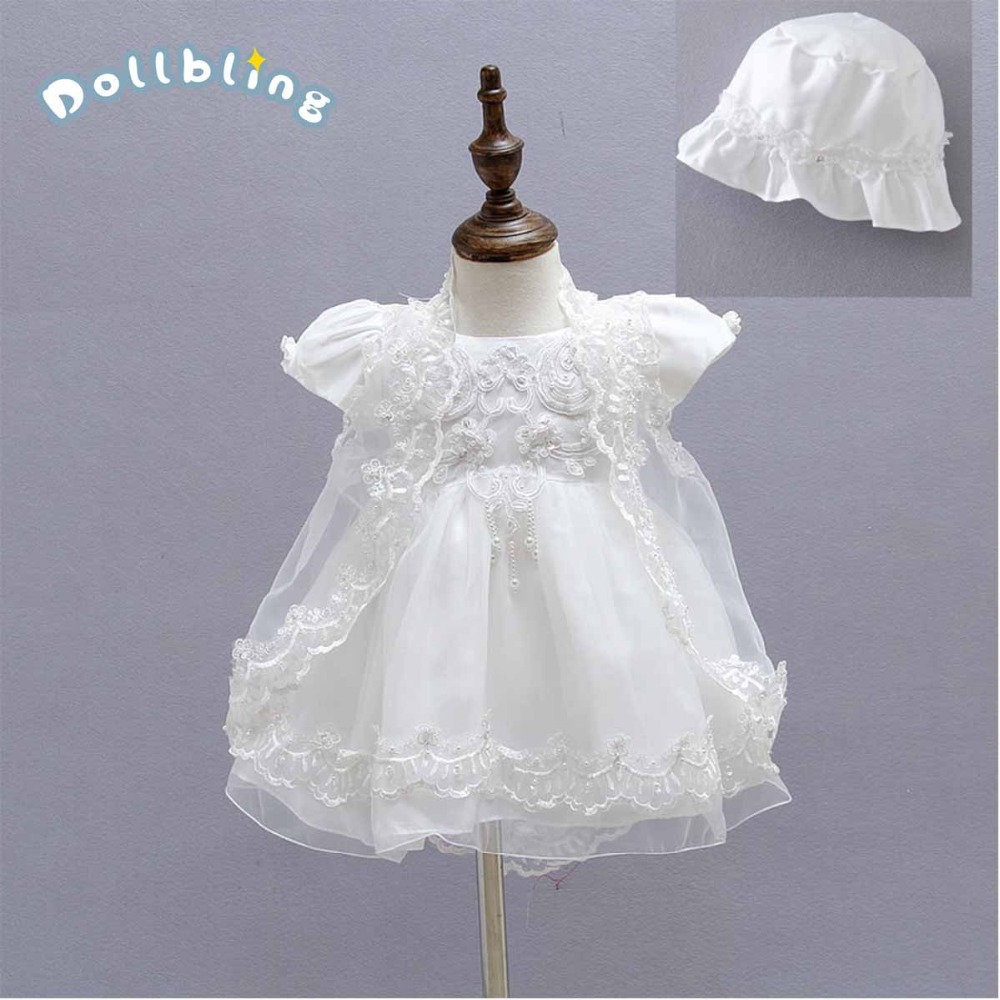 Baby Princess Dress Set Pleated Lace Wedding Party Kids Baby Tutu Dresses For Infat Girls Children's Costume Dresses Cap 3pcs