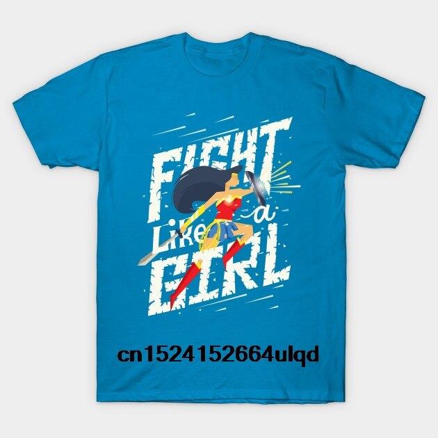 100% Baumwolle Oansatz Individuell Bedruckte T-shirt Männer T Shirt Kampf Wie Ein Mädchen-wonder Frau Frauen T-shirt