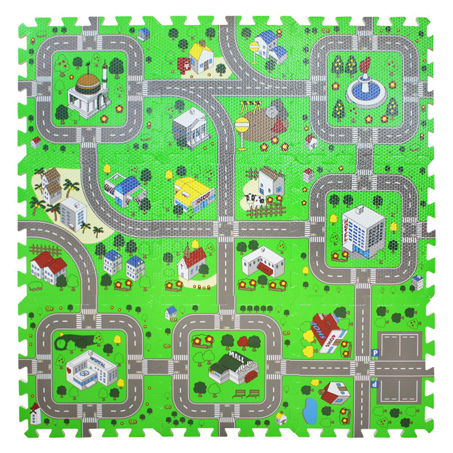 City Road Traffic Baby EVA Foam Carpet Puzzle Crawling Rugs Car Track Playmat Toddler Racing Games Play Mat Toys For Children | Happy Baby Mama