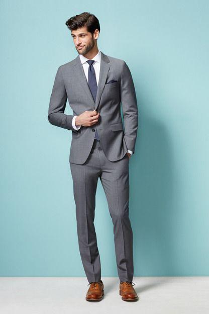 Cool Grey Men Suits Costume Homme Groomsmen Tuxedo Groom Suit ...
