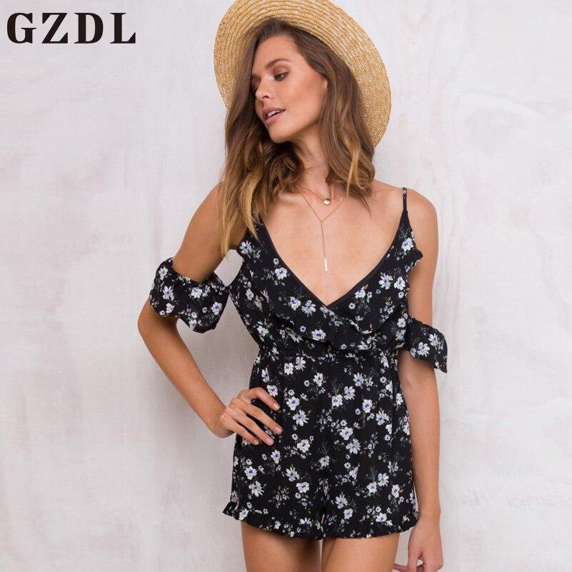 GZDL Sexy Strap V Neck Backless Top Playsuit Bodysuit Vintage Floral Print Black Women Off Shoulder
