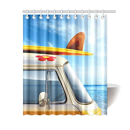 NANAZ Custom Vintage Van In The Beach With A Surfboard Bathroom Waterproof Fabric Shower Curtain Curtains From Home Garden On Aliexpress