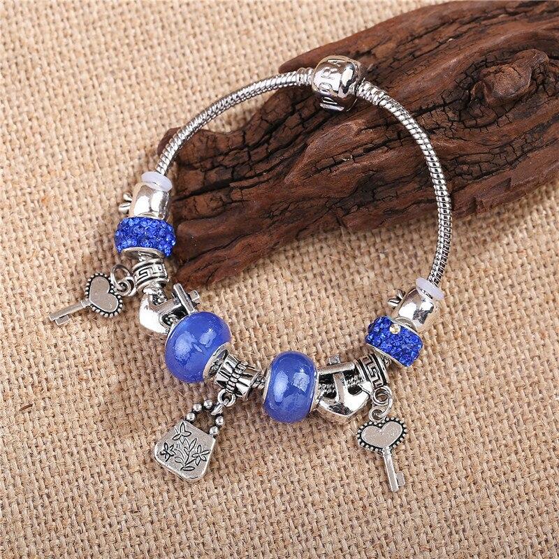 9e703d543 2018 New Pandolia Silver Charms Fit DIY Blue Bead Bracelets & Bangles  Silver Anchors LOVE Key pendant Original Jewelry