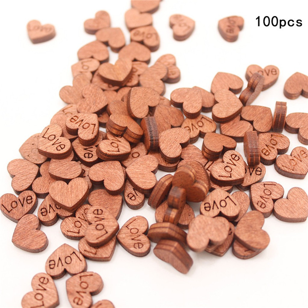 100pcs Rustic Wooden Love Heart Star Wedding Table Scatter Decoration Crafts DIY