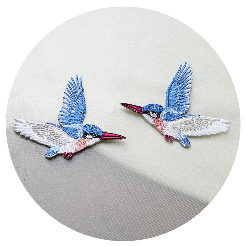 gun patch embroidered patch,sew on patch flying patch A pair of kingfishers Patch,iron on patch stick on patch flight patch