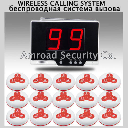 1set 99 Zones LED Display Wireless Table Waiter Service Call Calling Paging System w 15pcs 3-press Table Button AT-99P