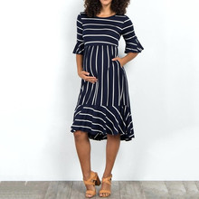 Bell Sleeve Clothes Pregnant Lady Dress Nursing Women Striped Maxi  High Waist Dress Maternity Beach Dress Elegant Pregnancy
