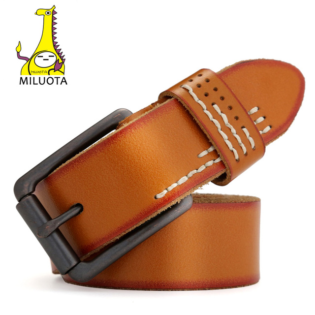 [Miluota] cinturones diseñador de alta calidad doble 100% genuina correa de cuero de lujo de la vendimia hombre mu008