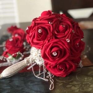 Image 3 - 10 ראשי 8CM די מקסים פרחים מלאכותיים PE קצף רוז פרחי כלה זר בית חתונת דקור רעיונות DIY ספקי